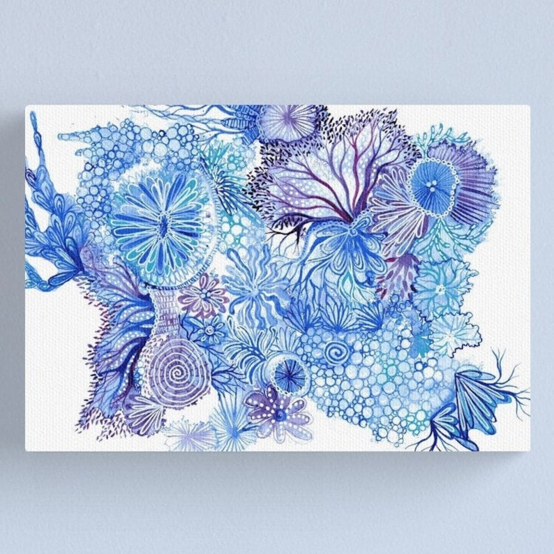Blue Reef  ORIGINAL intuitive abstract watercolour painting image 0