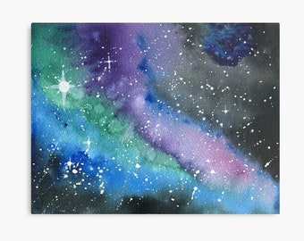 Look up at the Stars 4 - ORIGINAL galaxy cosmic starry night painting on paper in purple, blue, green and black