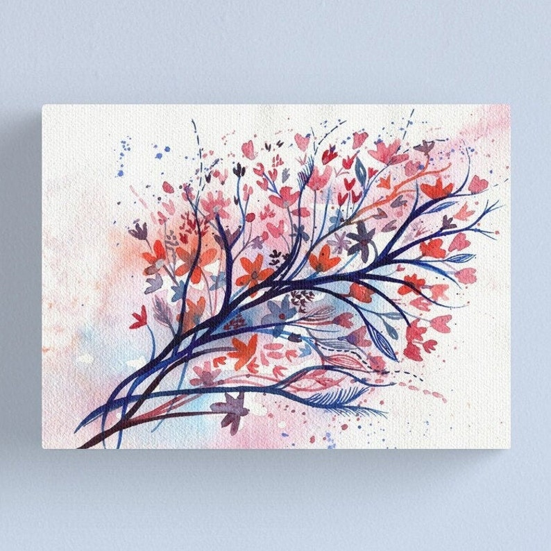 Posy for Claire  Watercolour painting of wildflowers in coral image 1