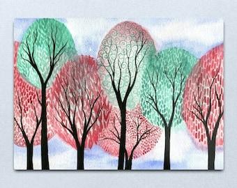 Autumn Tempus - ORIGINAL watercolour painting of whimsical autumn swirly trees