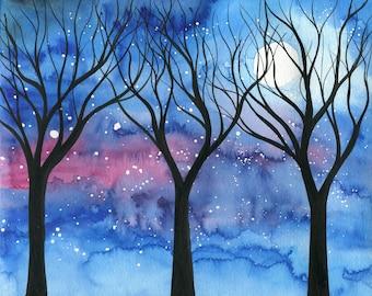 Moonlit trees 2 - original watercolour painting of trees silhouette on moonlit starry sky