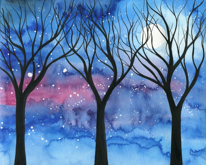 Moonlit trees 2  original watercolour painting of trees image 0