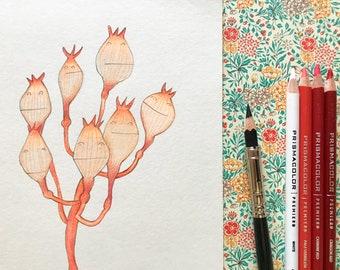 Bouquet / original flower pencil drawing on paper / botanical illustration /  15x21 cm / signed / chiba