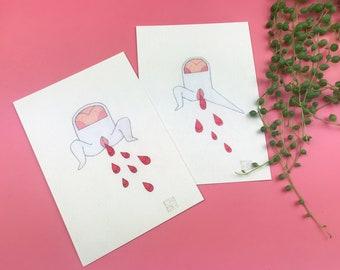 Sanguine postcards set / cute period illustration / 10x15 cm / chiba