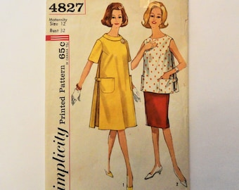 81af3161e20d1 Maternity dress top skirt pattern, roll collar, sleeveless, side pleats, 1960s  vintage sewing pattern Simplicity 4827 misses size 12 bust 32