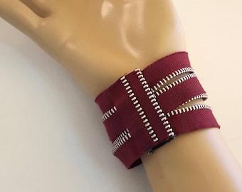 Burgundy Double Zipper Cuff Bracelet