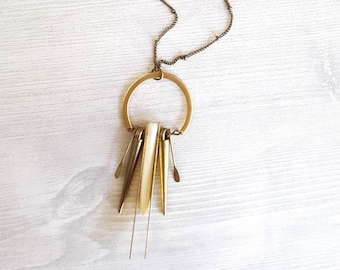 White Howlite Necklace Spike Necklace Gold Spike Necklace Fring Necklace Boho Chic Jewelry Modern Jewelry