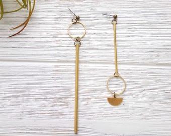 c6ba4bae9 Asymmetrical Earrings Mix and Match Earrings Artisan Earrings Mismatched  Earrings Gold Bar Earrings Gold Statement Earrings Long Statement