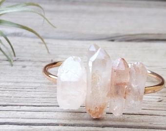 Rose Gold Cuff Bracelet Quartz Crystal Bracelet Raw Crystal Bracelet Healing Stone Jewelry Raw Stone Jewelry Raw Stone Bracelet Dynamo