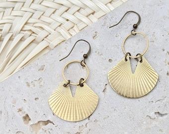 Modern Boho Earrings Fan Earrings Geometric Earrings Brass Raw Brass Earrings Modern Brass Earrings Gold Fan Earrings Dynamo