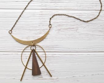 Triangle Necklace Wooden Pendant Geometric Jewelry Modern Jewelry Statement Necklace Gold Modern Necklace Triangle Necklace Gold Dynamo