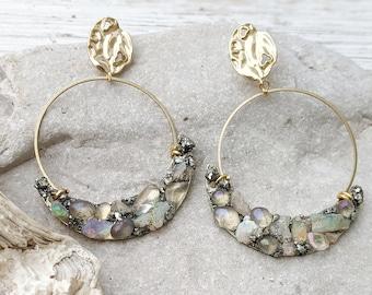 Opal Earrings Gold  Raw Opal Jewelry Opal Hoop Earrings Bridal Hoop Earrings Raw Stone Jewelry Earring October Birthstone Earrings Dynamo