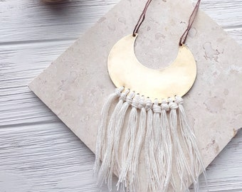 Boho Fringe Necklace, Crescent Moon Necklace, Tassel Necklace, Crescent Necklace, Brass Medallion Necklace, Boho Chic Jewelry, Gypsy Jewelry
