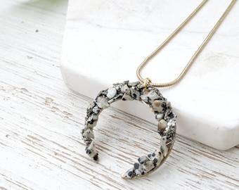 Raw Stone Jewelry Necklace for Women Healing Stone Necklace Short Boho Necklace Boho Moon Necklace Brass Layering Necklace Dalmatian Jasper
