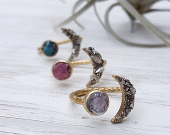 Raw Stone Ring Moon Ring Nature Inspired Jewelry Raw Crystal Ring Raw Ring Celestial Ring Raw Amethyst Ring Dynamo Open Adjustable Ring