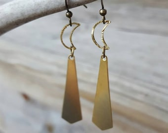 Crescent Moon Earrings Crescent Moon Jewelry Boho Chic Jewelry Boho Earrings Brass Earrings Moon Earrings Moon Jewelry Chevron Earrings