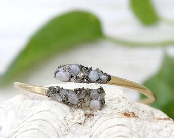 Adjustable Cuff Bracelet Moonstone Bracelet Stone Boho Chic Bracelet  Adjustable Bracelet Crystal Gemstone Moonstone Bracelet Raw Stone