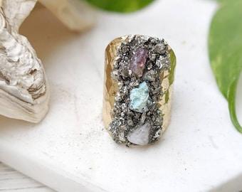 Textured Ring Boho Crystal Ring Raw Stone Ring Raw Crystal Ring Boho Gem Ring  Adjustable Stone Ring Adjustable Gemstone Ring Dynamo
