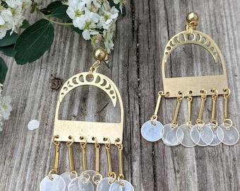 Rising Moon Phase Shell Window Earrings Brass Shell Earrings Pearl Shell Earrings