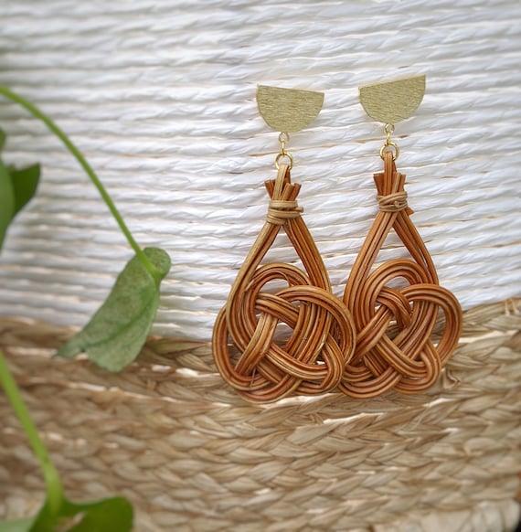 Brass Rattan African Turquoise Statement Earrings   bohemian modern trendy summer fashion gold jewelry rattan earrings turquoise jewelry