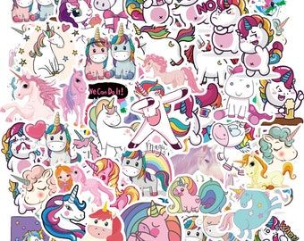 """50 pcs """"Unicorn Fancy"""" Stickers for laptop water bottle books endless ideas for adults tweens and kids Free Shipping"""