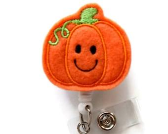 Smiling Pumpkin  - Nurses Badge Holder - Felt Badge - Nursing Badge Holder - Teacher Badge Reel - RN Badge Reel - Fun ID Badge - Gift Idea