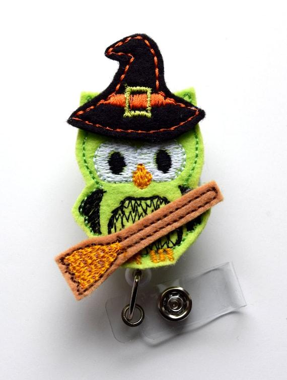 Nursing Badge Clip Witch Owl Nurse Badge Holder Name Badge Holder Felt Badge Retractable ID Badge Reel Nursing Badge