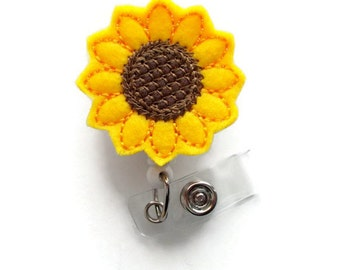 Sunflower  - Retractable ID Felt Badge Holder - Name Badge Holder - Cute Badge Reel - Nursing Badge - Felt Badge Reel
