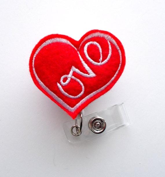 Valentine's Day Red Love Heart - Badge Reel - Nurses Badge Holder - Teacher  Badge Clip - Valentine's Day Badge Holder