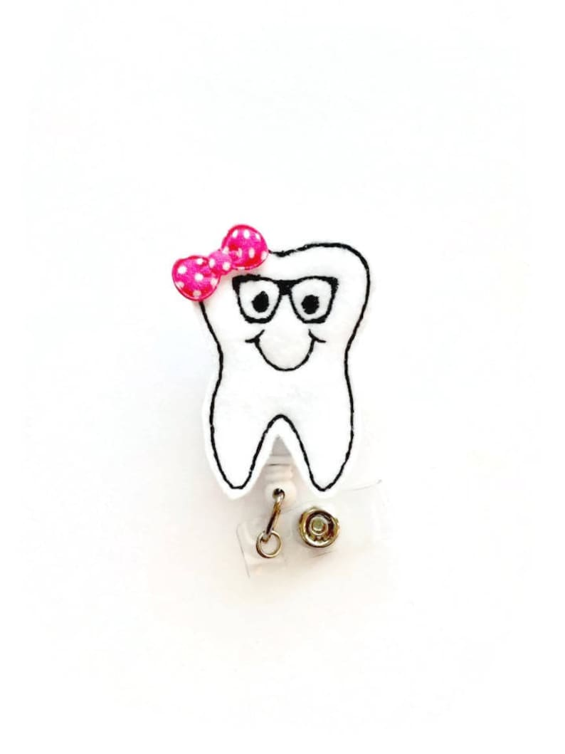Dental Hygienist Badge Orthodontic Assistant ID Dentist Badges Tooth with Glasses Orthodontist Badge Dental Assistant Badge Holder