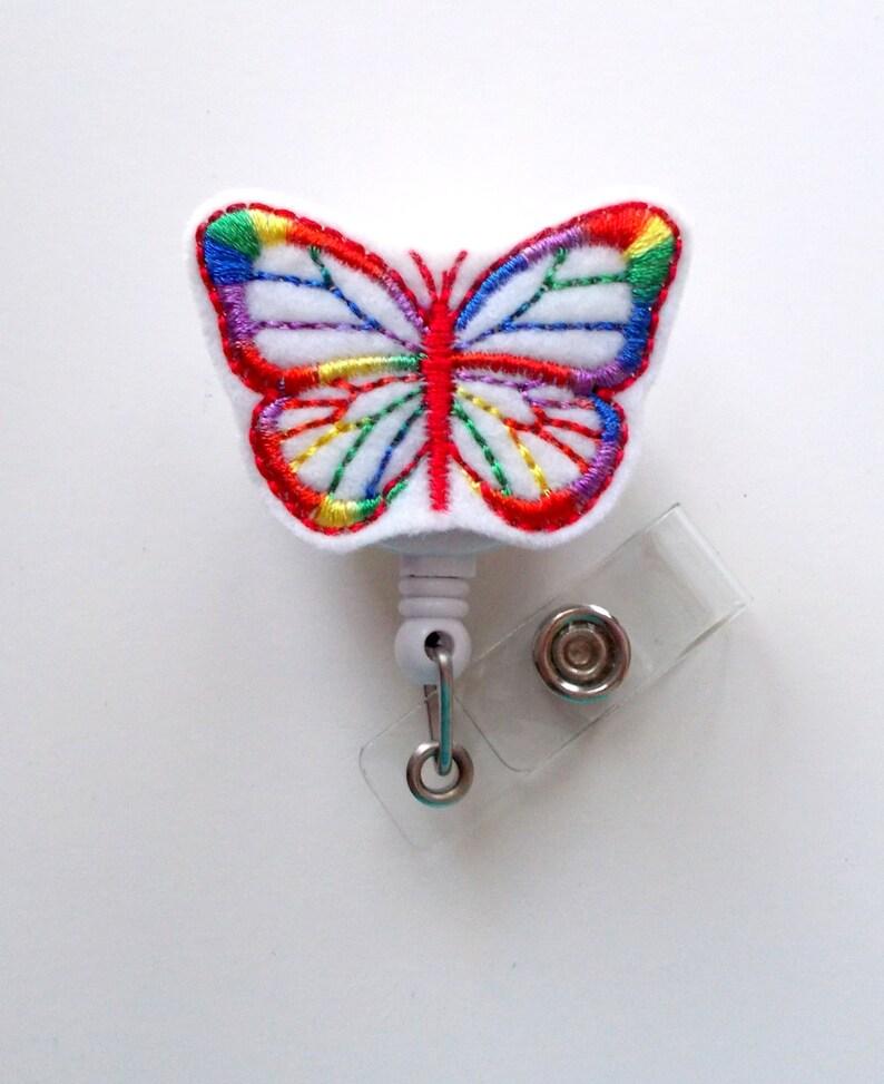 Rainbow Butterfly - Retractable ID Badge Reel - Name Badge Holder - Cute  Badge Holders - Nurse Badge Holder - Nursing BadgeReel - Felt Badge