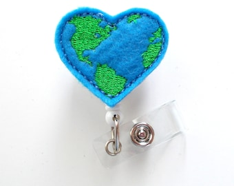 Earth Heart - Retractable Badge Reel - MD Badge Holder - Teacher Badge Reel - Nurse Badge Holder - Nursing Badge Clip - Felt Badge