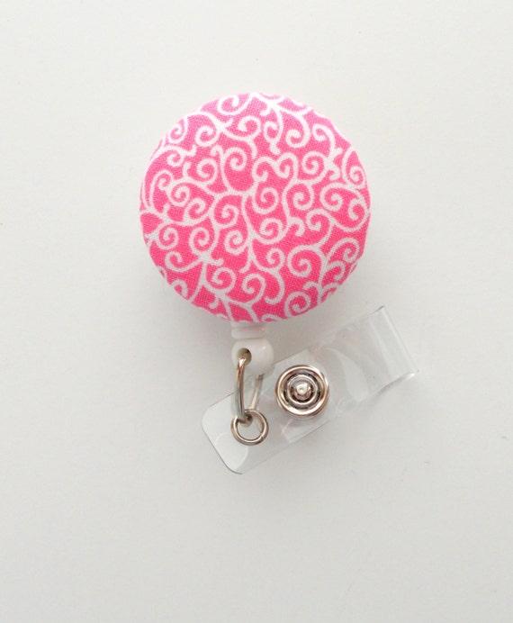 Pink Paisley - Cute ID Badge Reel - Nurse Badge Holder - Nursing Badge Reel  - Retractable ID Badge Reel - Teacher Badge - Nurse