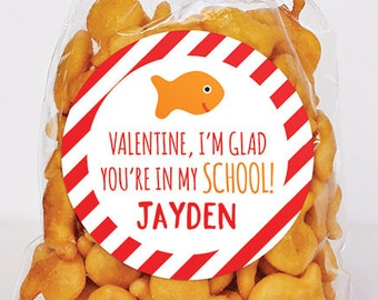 Valentine's Day Stickers - Valentine, I'm Glad You're In My School - Sheet of 12 or 24