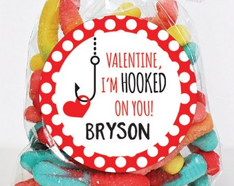 Valentine's Day Stickers - Valentine, I'm Hooked On You - Sheet of 12 or 24