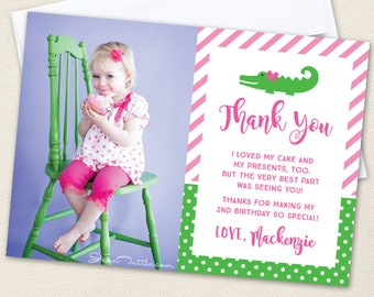 Pink Alligator Photo Thank You Cards - Professionally printed *or* DIY printable