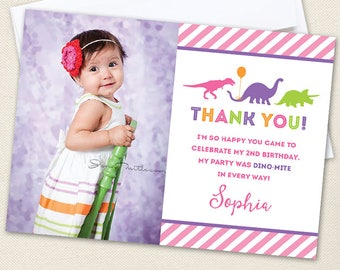 Pink Dinosaur Party Photo Thank You Cards - Professionally printed *or* DIY printable