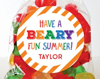 """Last Day of School Stickers - """"Have a BEARY Fun Summer"""" - Sheet of 12 or 24"""