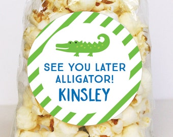"""Last Day of School Stickers - """"See You Later Alligator"""" - Sheet of 12 or 24"""