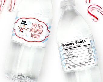 Instant Download Melted Snowman Water Bottle Labels Diy Etsy