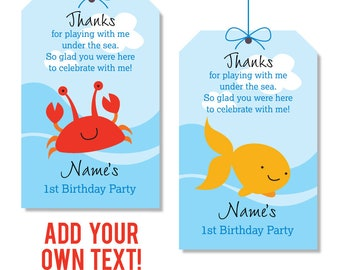 27e301c40 EDITABLE INSTANT DOWNLOAD Under the Sea Party Favor Tags - Editable,  printable under the sea birthday party favor tags