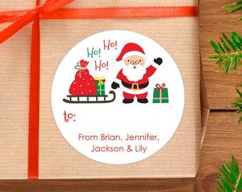 Christmas Stickers Personalized Gift Labels Ho Ho Ho Santa Sheet Of