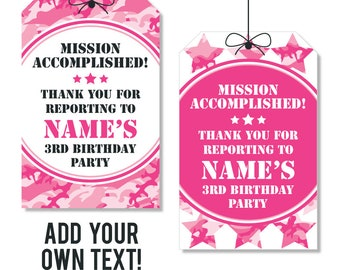 EDITABLE INSTANT DOWNLOAD Pink Camo Party Favor Tags