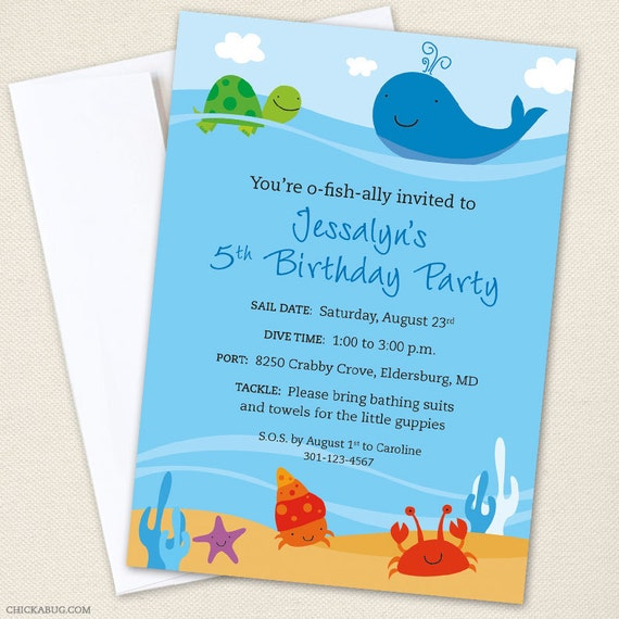 under the sea party invitations professionally printed or etsy
