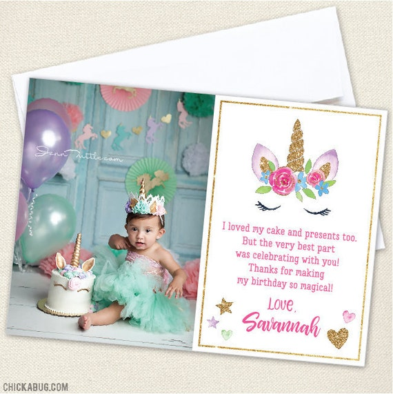 Unicorn Party Photo Thank You Cards