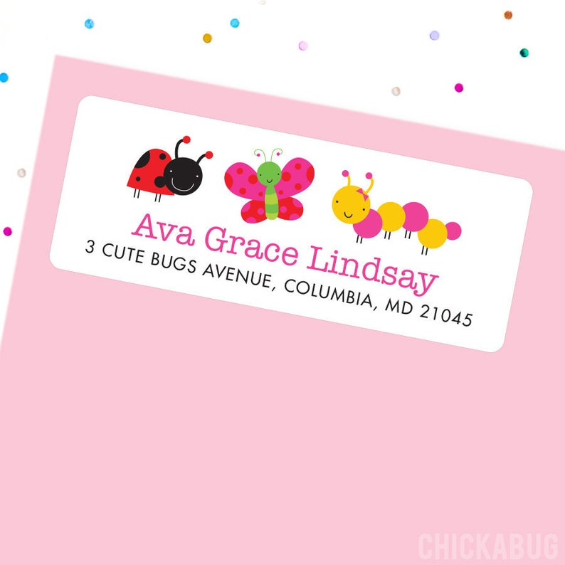 Sheet of 30 Ladybug Butterfly and Caterpillar Address Labels Cute Bugs Address Labels