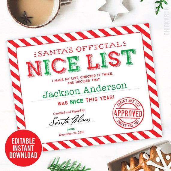 photo relating to Printable Santa Nice List Certificate titled EDITABLE Immediate Down load Santas Awesome Record Certification