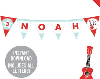 INSTANT DOWNLOAD Rock Star Party - DIY printable pennant banner - Includes all letters, plus ages 1-18