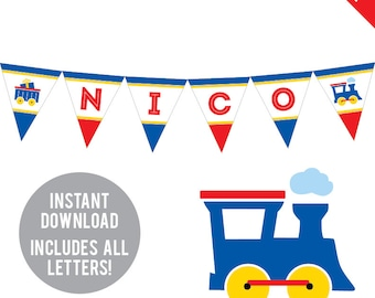 INSTANT DOWNLOAD Train Party - DIY printable pennant banner - Includes all letters, plus ages 1-18