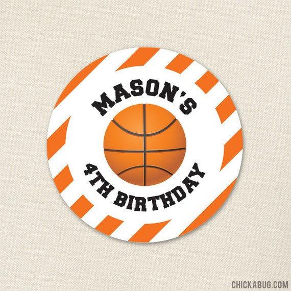 new product d4247 c568a Basketball Party Stickers - Personalized Basketball Birthday Stickers -  Sheet of 12 or 24
